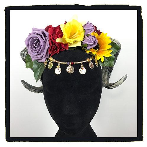 Rainbow flower jewelled rams horn hair bands