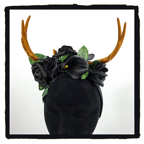 Black floral mix goth lily stag horns