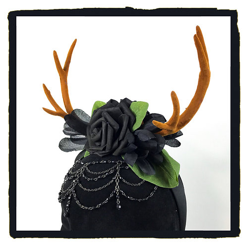 Black goth rose jewelled stag horns