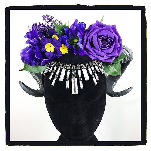 Purple roses crystal jewelled rams horns