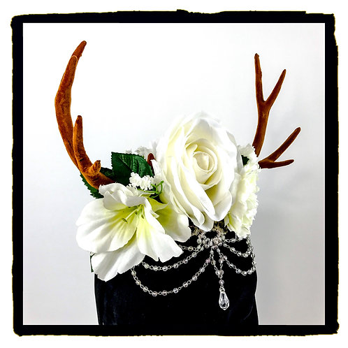 White rose jewelled stag horns
