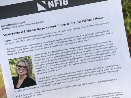 Kansas State NFIB Officially Endorses Nesbett-Tucker for State Representative