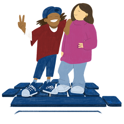A cartoon illustration of a young person leaning on their mentor, throwing up a peace sign. They are both standing on a computer keys.