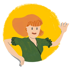 A cartoon illustration of a female mentor, smiling and waving out to us.