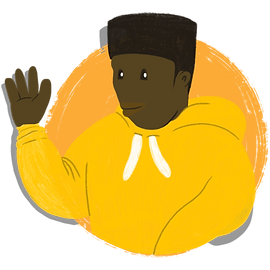 A cartoon illustration of a male mentor, smiling and waving out to us