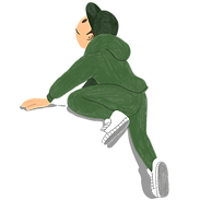 Young person in a cap and tracksuit, climbing up 'Our Goal' steps