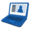 Illustration of a laptop with a chat room open on the screen.