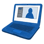 A cartoon illustration of an open laptop with a video chatroom on the screen