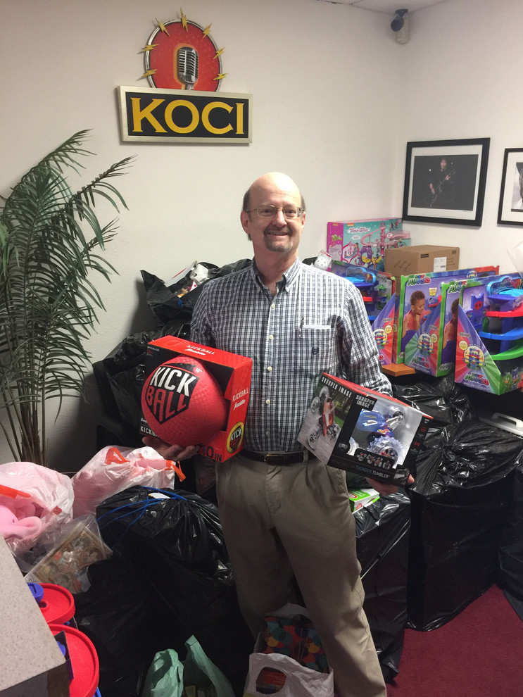 Allen Wilkenson dropping off toys