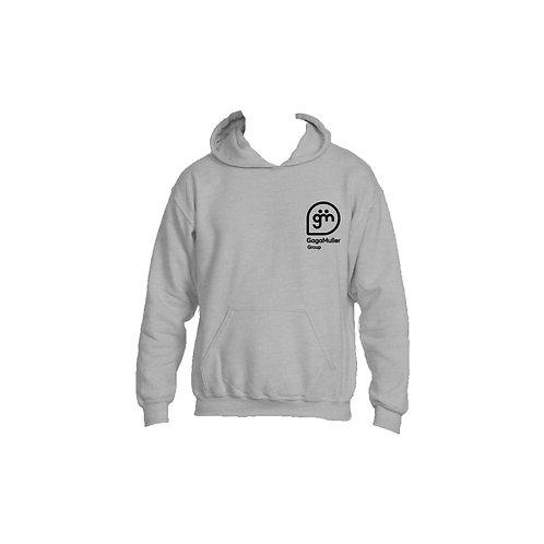 Light Grey Hoodie- Stacked logo - Large