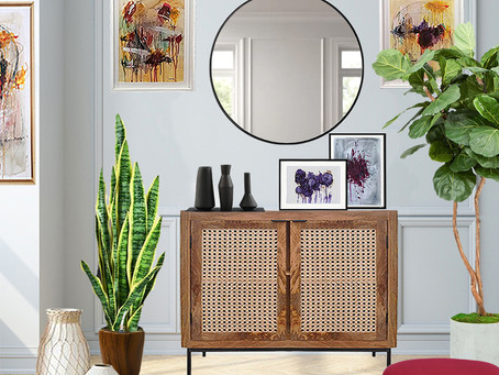 Get the Look: Styled Entryway, Two Options: Budget Friendly vs High End Furniture and Decor.