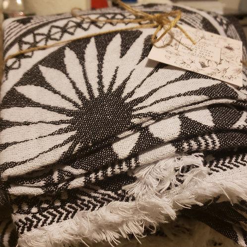 Turkish  Towel - Black Medallion