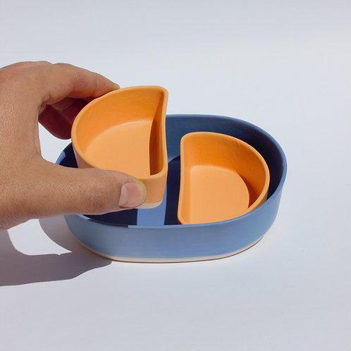 Blue Snack Dish Set