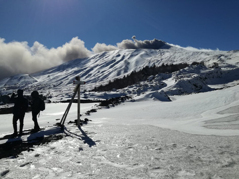 winter season on an active volcano