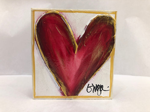 Medium Red Heart On Wood