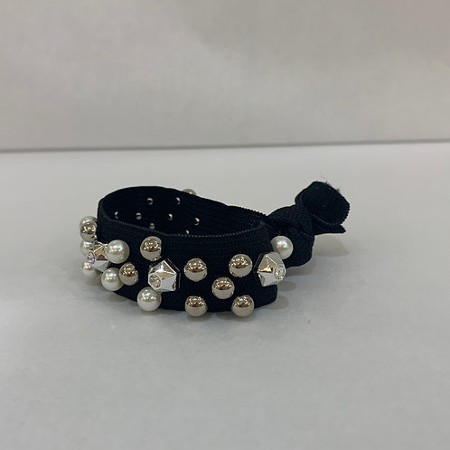 Hair Tie-Black With Pearls and Beads