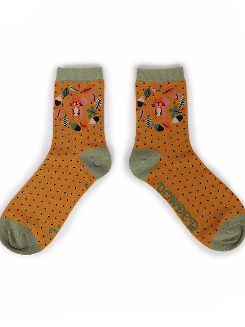 Autumn Squirrel Ankle Sock