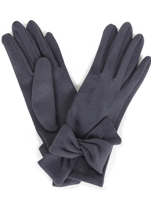 Henrietta Faux Suede Gloves Charcoal