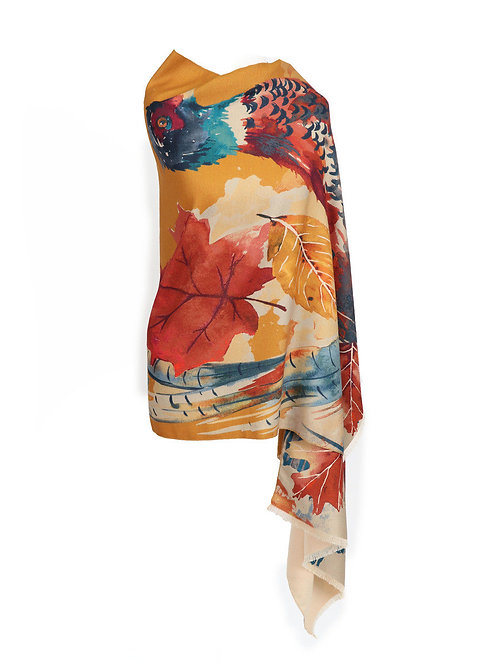 Watercolour Pheasant Luxurious Print Scarf