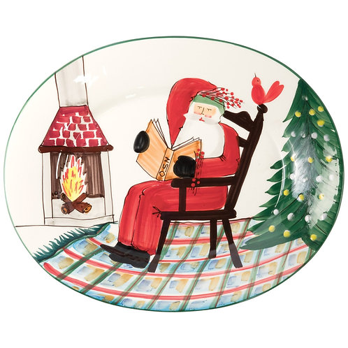 Old St. Nick Large Oval Platter with Santa Reading