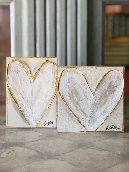 White Heart On Wooden Canvas