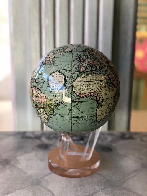 "ANTIQUE TERRESTRIAL GREEN MOVA GLOBE  6"""