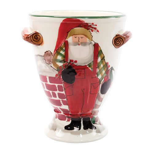 Vietri Old St. Nick Footed Urn with Chimney Stockings