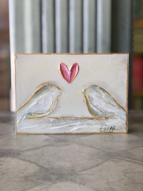 White Birds on Wooden Canvas