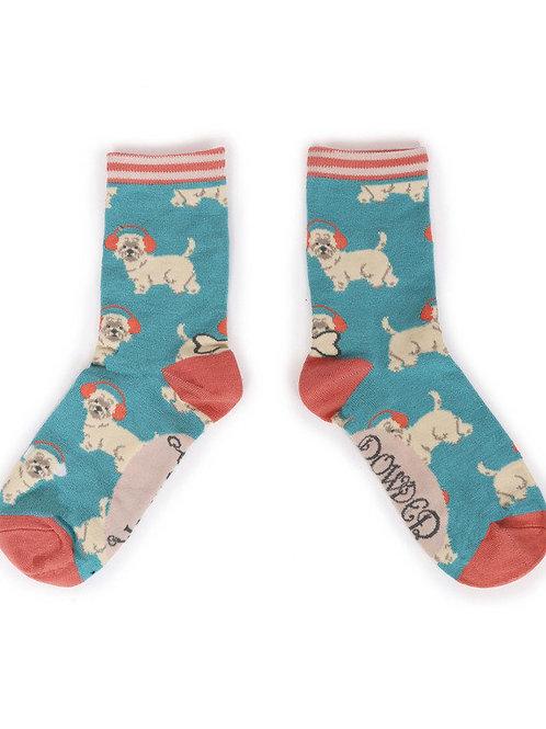 Westie Earmuffs Ankle socks