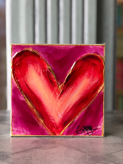 Red Heart on Pink Canvas on Wood