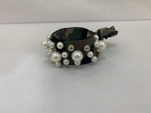 Hair Tie-Camo With Pearls