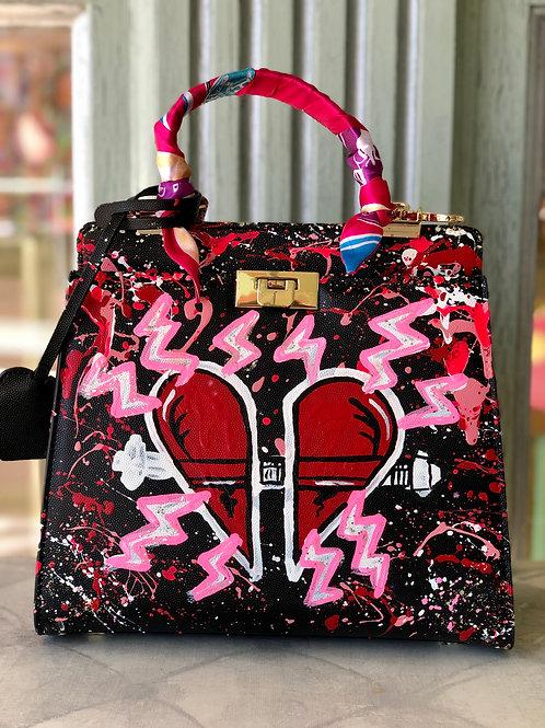 Black Broken Heart Bag