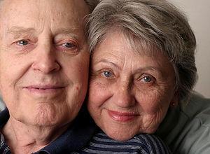 Pleased senior couple