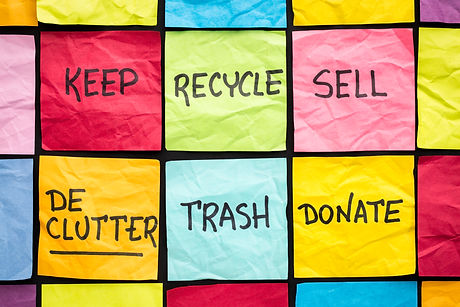 decluttering... (keep, recycle, trash,