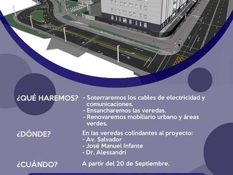 Obras del nuevo Hospital del Salvador instala la red eléctrica bajo tierra