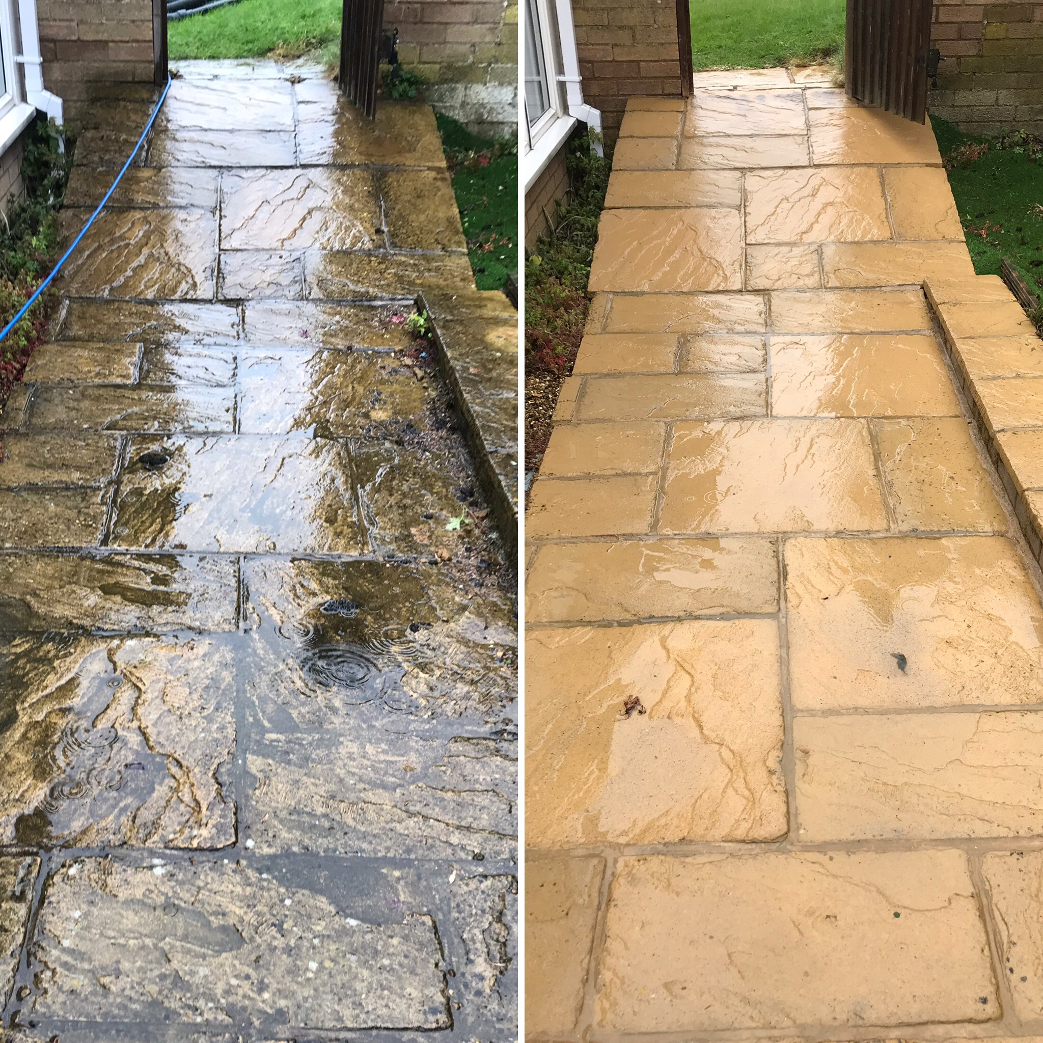 Before and after patio clean