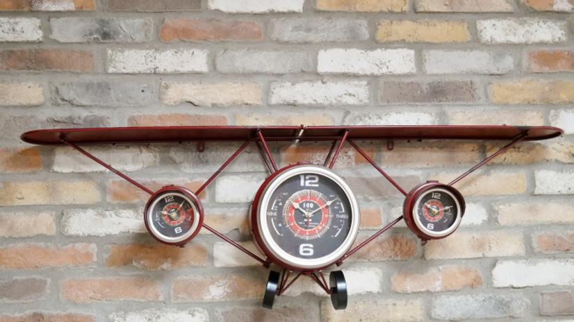 Red Plane Clock / Shelf