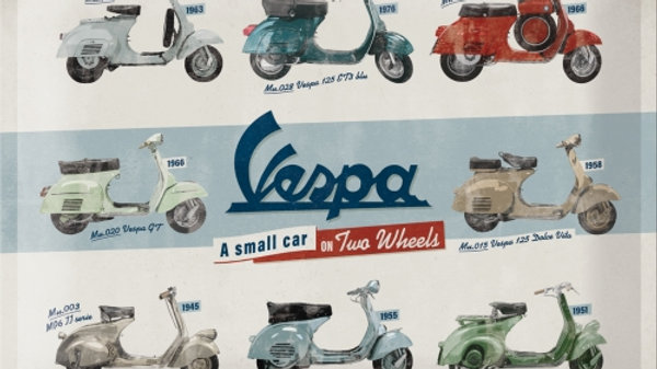 Vespa Models 30x40cm Tin Sign
