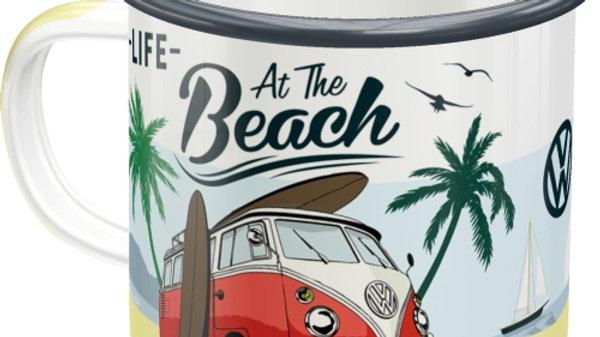 VW Volkswagen At The Beach Enamel Mug