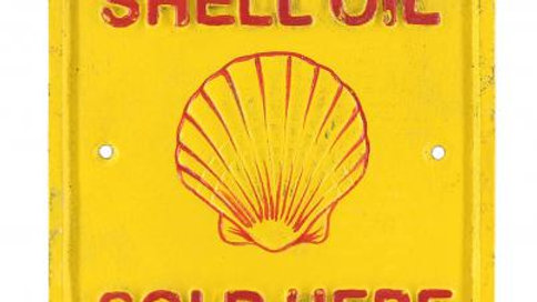 Shell Oil Sold Here Cast Iron sign