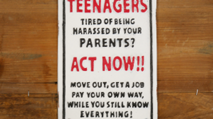 Teenagers cast iron sign