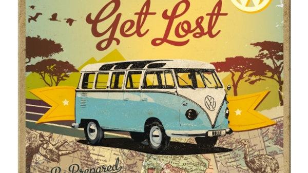 VW Volkswagen Get Lost Metal Coaster