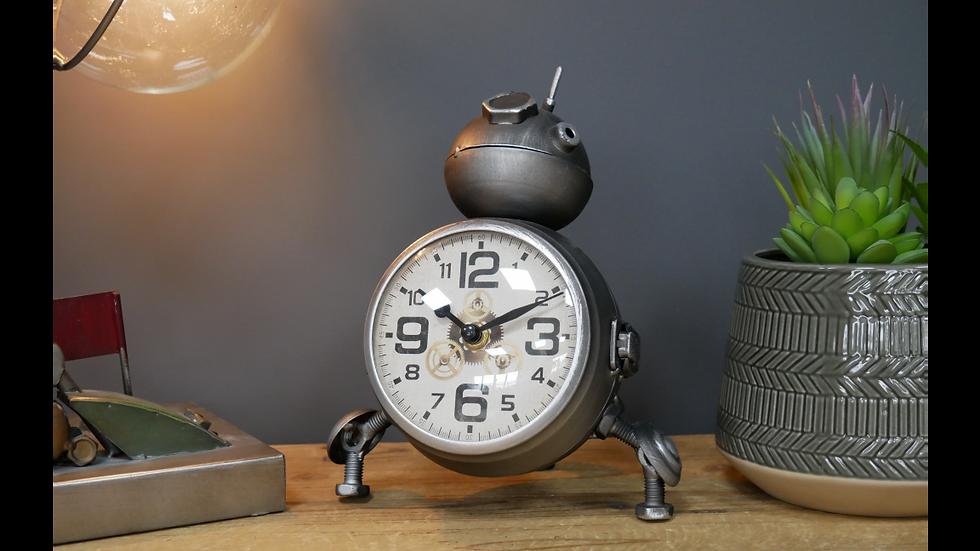 Small Silver Robot Clock