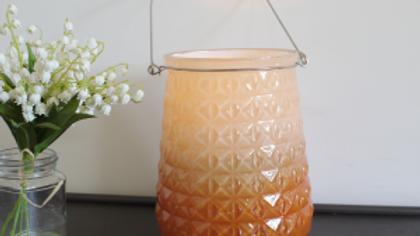 Orange Glass Candle Holder