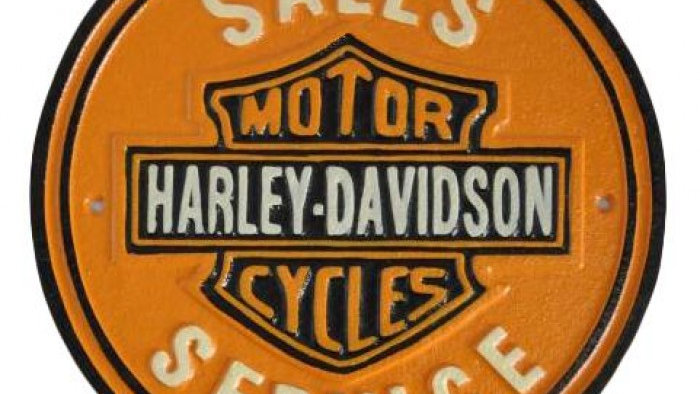 Harley Davidson Motorcycles Sales Service Cast Iron sign