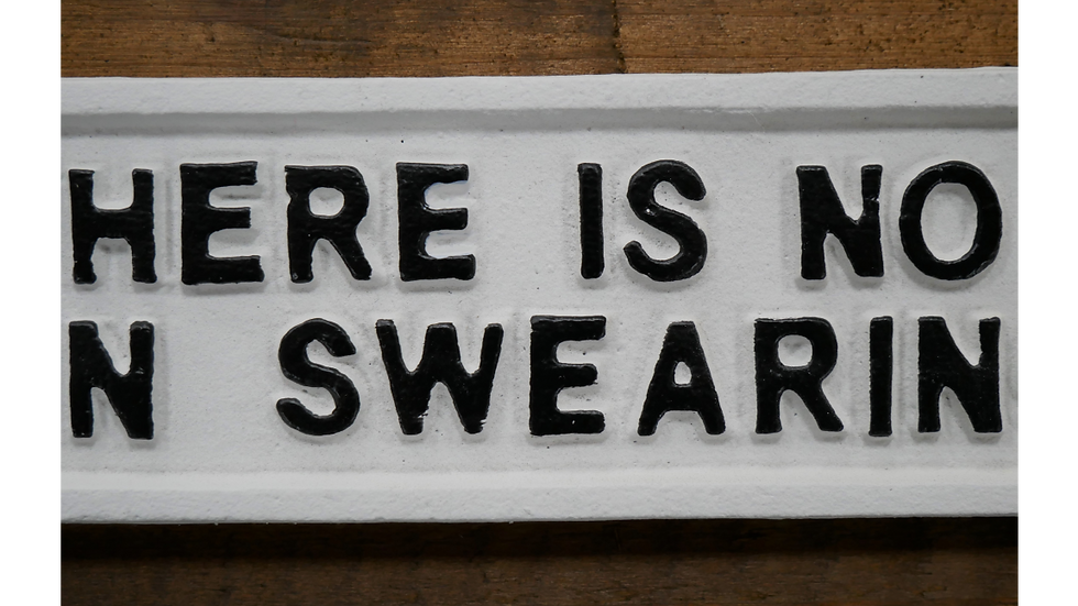 There is no F in swearing - cast iron sign
