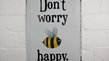 Dont worry be happy tin sign