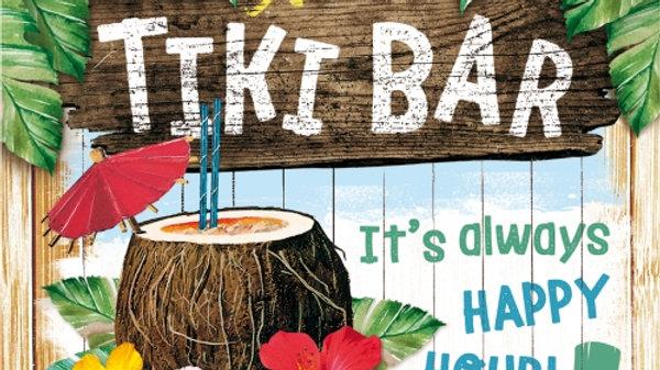 Tiki Bar Metal Coaster