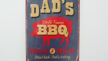Dads BBQ tin sign