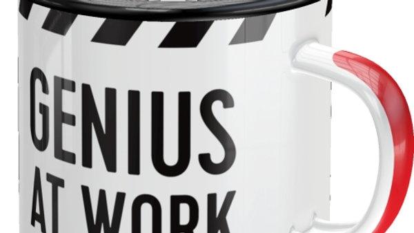 Warning Genius At Work Enamel Mug
